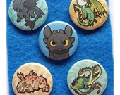 How To Train Your Dragon pinback button set.