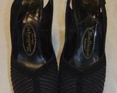 Platform Peep Toe Heels Black Nubuck Free Shipping