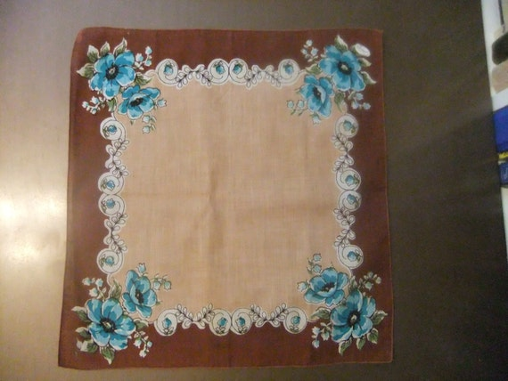 Free Shipping Handkerchief: Brown & Blue Floral