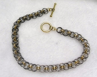 Black Nickel Helm Chain Bracelet  B-033