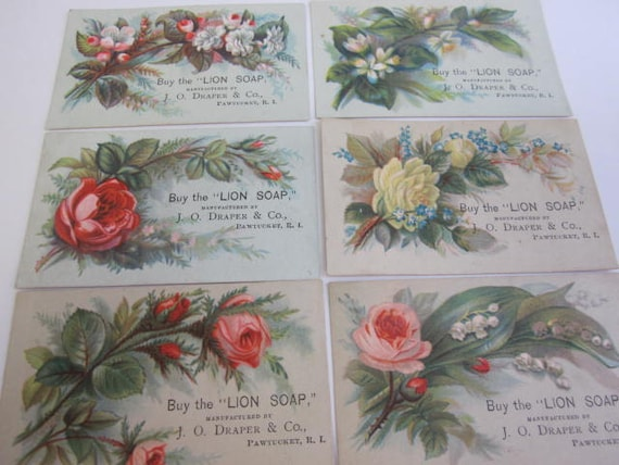 Six Small Victorian Trade Cards for Lion Soap with Floral Designs