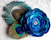 Peacock feather hair clip, teal, king blue, turquoise satin flower with rhinestone accent