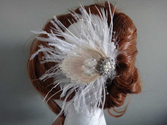 Bridal Ivory, white feather hair piece, champagne peacock feather, pearl rhinestone