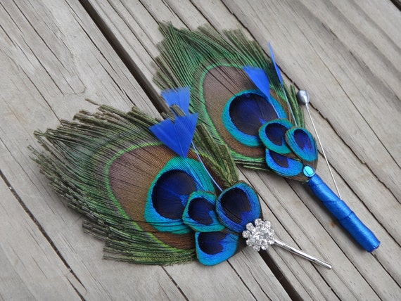 6 peacock feather bobby pins and 6 boutonnieres, custom orders are accepted for more colors
