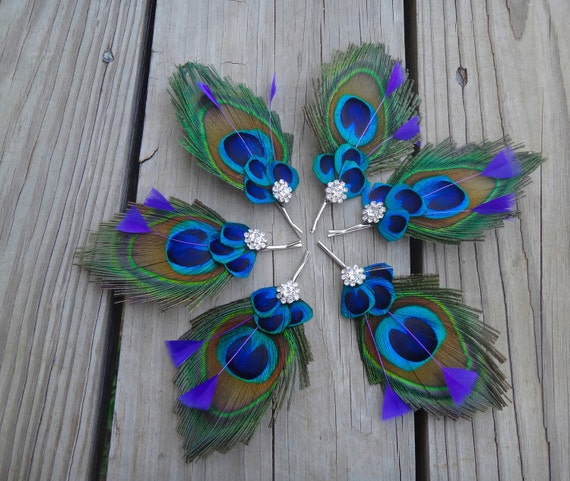 bridesmaids peacock bobby pin, Customize to match your wedding colors