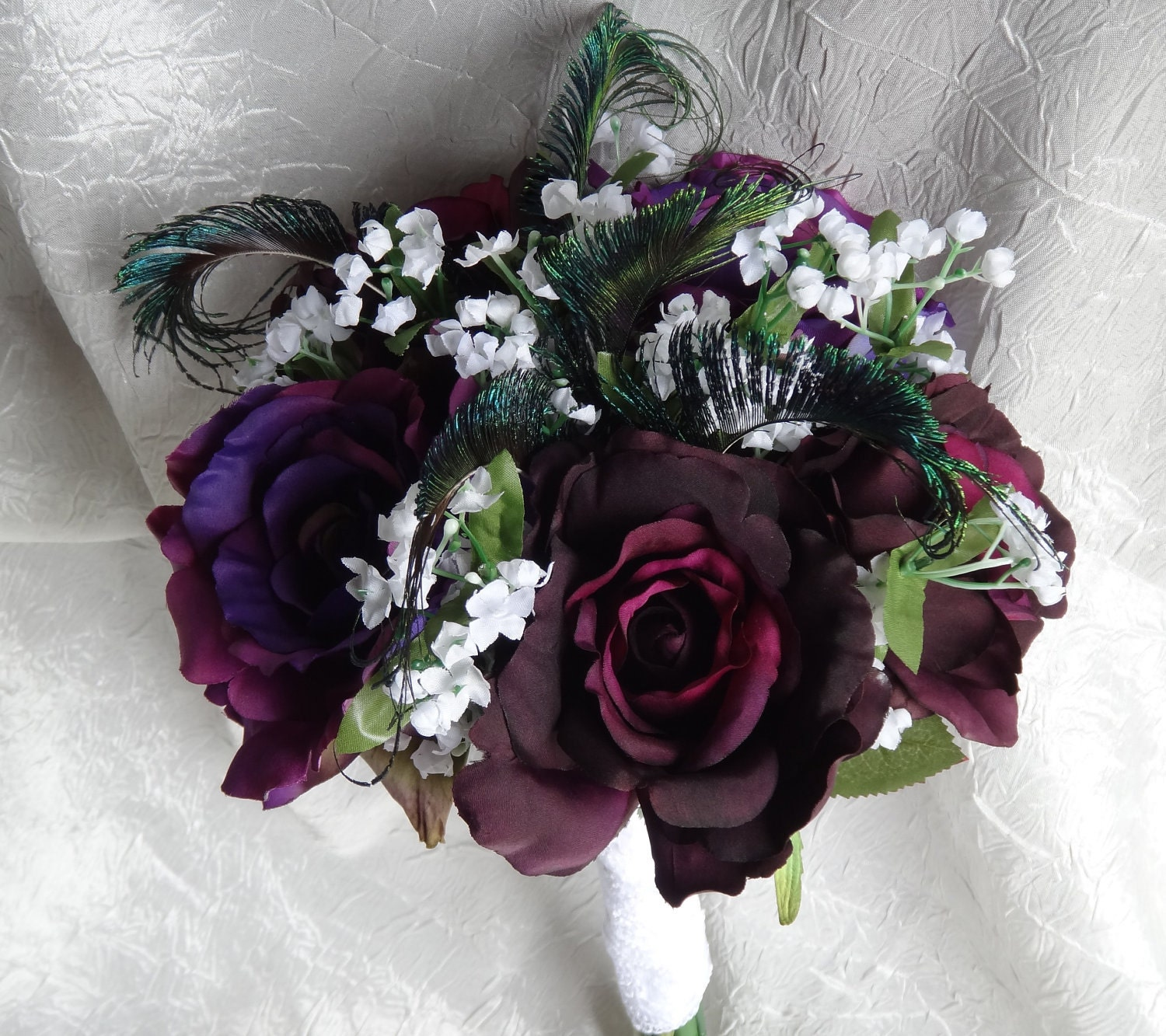 Purple Bridal Bouquet With Peacock Accent Eggplant And