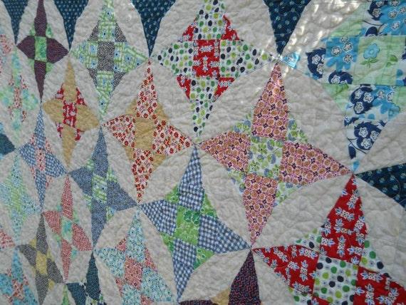 70x70 Kaleidoscope quilt - Denyse Schmidt fabrics, vintage look