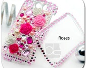 HTC Mytouch 4G Slide / T-mobile my Touch 4G Slide Skin Case: BLING Rhinestone Crystal Gems Hard Cover (Pink Rose)