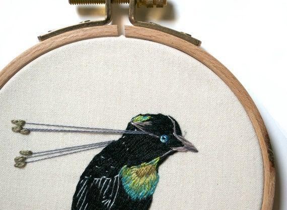 Embroidery Hoop Art - 6-Plumed Bird of Paradise - Figure of Inspiration No. 2. One of A Kind Embroidery Art from The Handmade Classroom.