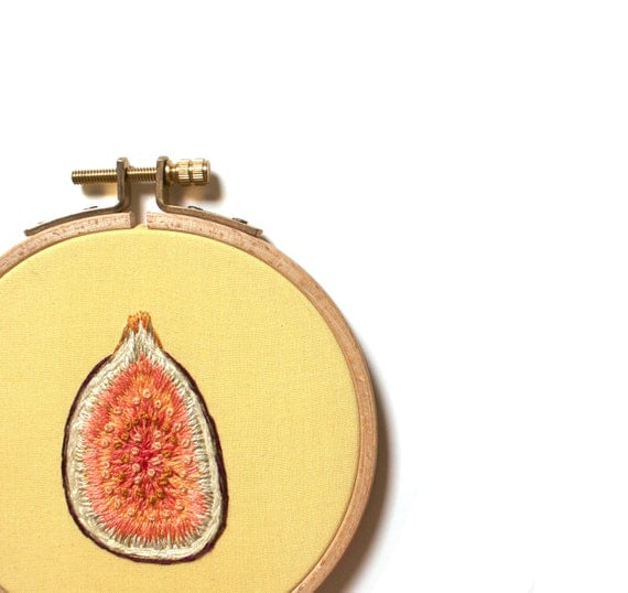Embroidery Hoop Art - Fig. Figure of Inspiration No. 1.  One of A Kind Embroidered Wall Art, Kitchen Decor.