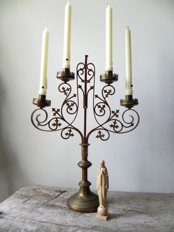 RESERVED FOR JAC - Antique Brass 4 Arm Candelabra