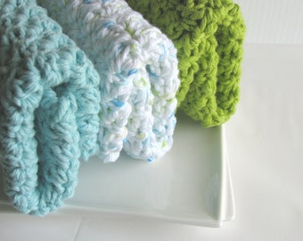 Dish cloth set...Wash cloth... Sea Glass Collection