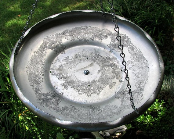 Hanging Bird Feeder repurposed from a LACY hammered  Aluminum Bowl