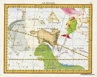 ARIES constellation map zodiac print march and april birthday