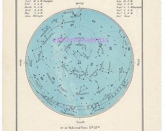 JUNE celestial glorious vintage map print