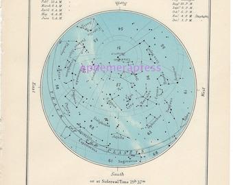 july celestial glorious vintage map print