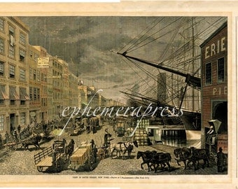 SEAPORT in NEW YORK city print nyc view - south street seaport -