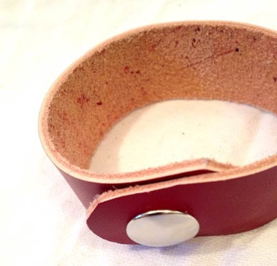 Handmade - simple red leather cuff