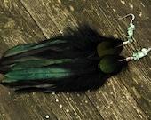 Feather Earrings - Black