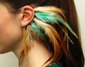 Feather Ear Cuffs -  Mint With Gold (Pair)