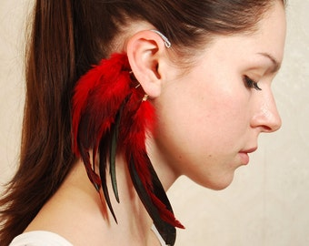 Feather Ear Cuff, Ear Cuff, Feather Earrings, Hippie, Bohemian, Hair Headpiece, Festivals, OOAK, Ear Jacket