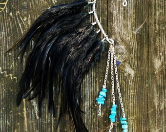 Feather Ear Cuff, Ear Cuff, Feather Earrings, Ear Wrap, Feather Ear Wrap, Hair Headpiece, Festivals, OOAK, Ear Jacket