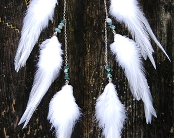 Long Feather Earrings - Pure
