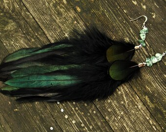 Feather Earrings - Black