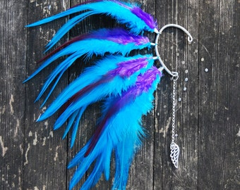 Feather Ear Cuff, Feather Ear Wrap, Wrap Earring, Feather Earrings, Festival, Colorful