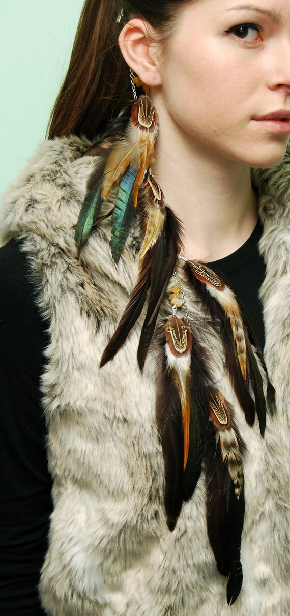 Feather Hair Extension - Brown Tail