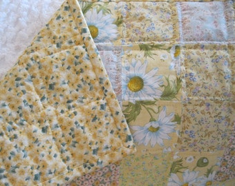 Handmade baby quilt - Yellow Floral Patchwork