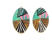 Striped Oval Earrings