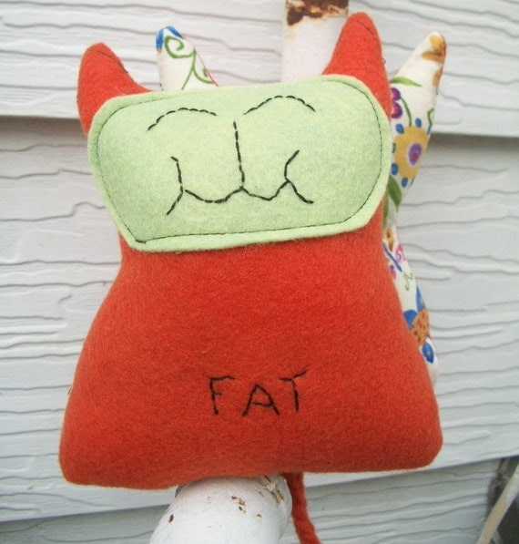 Orange Felt Catnip Toy Organic Floral Plush Kitty