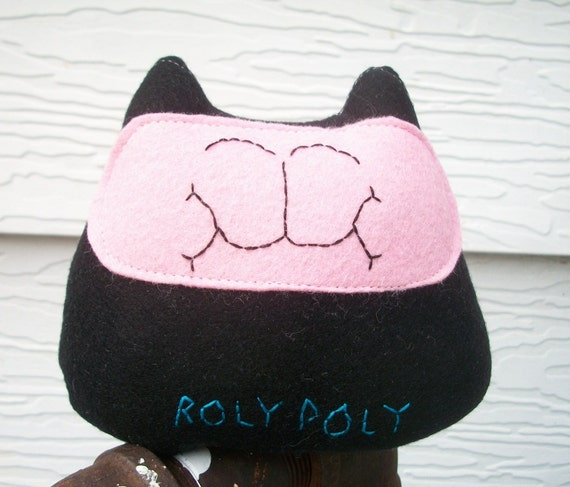 Fat Cat Catnip Toy - Pink  and Black Felt Roly Poly Organic Toy