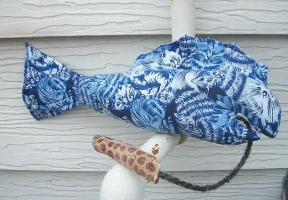 Catnip Toy - Here Fishy Plush Organic Catnip Toy and Worm / Blue Cat Print