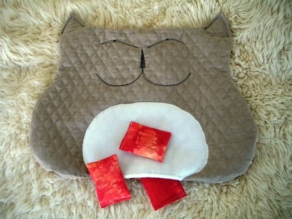 Cat Bed in Quilted Suede Cat Shape with Nip Bits Toy Fillers