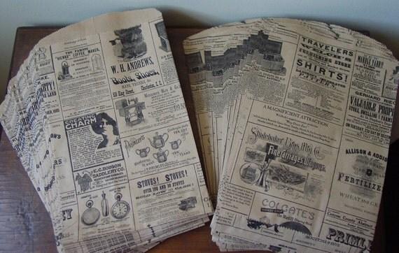Vintage Newspaper Print Paper Bags - 50 bags