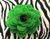 Single Bloom Kelly Green Felt Flower Hair Clip