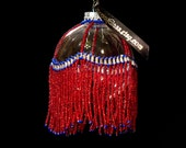 """Victorian Fourth of July ornament drape, Christmas or July 4th on 2.5"""" bulb"""