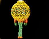 """Garden of the Sun one of a kind hand beaded Christmas ornament wrap 2.5"""" bulb"""