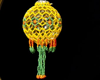 "Garden of the Sun one of a kind hand beaded Christmas ornament wrap 2.5"" bulb"
