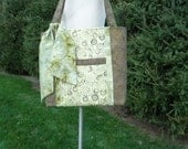Sale on Handmade Bag Purse Tote in  Brown and Green Batiks with Front Pocket and Sash