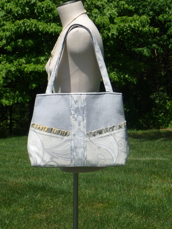 Sale on Handmade Bag Purse in Gray and Maize with Exterior Front Pockets