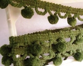 Pompom Trim: Vintage, Green 1/2 Inch Balls / 2 yards total - T1004