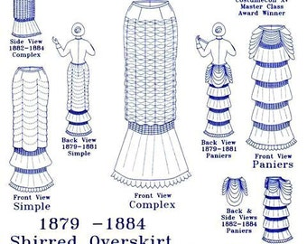 Victorian Skirt Pattern: Shirred Skirt w/ Flounces, Multi Sized Historical Sewing Pattern. 1880-23