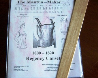 Regency Corset Pattern with Hardwood Busk: Multi Sized Sewing Pattern. 1810-3b