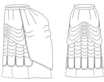 Victorian Skirt Pattern: Walking Skirt, Historical Multi Sized Sewing Pattern for 1870 - 1890. 1880-19