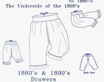 Victorian Underwear Sewing Pattern: Ladies Drawers Pattern. 1880-2
