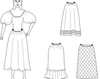 Petticoat Pattern: Historical Under Skirt Sewing Pattern Instructions - PDF file ONLY - 1700-5