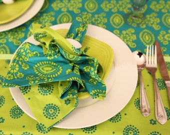 Square Tablecloth, Rectangle Green Tablecloth, Cotton Print Table Linen